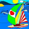 Sail with Dolphins: Yatch Coloring online game
